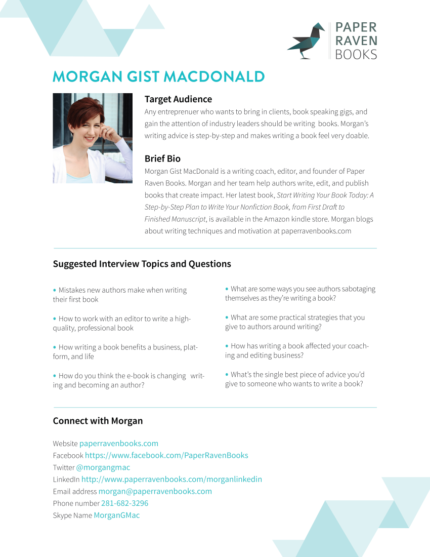 Press Kit One Sheet Morgan Gist-MacDonald