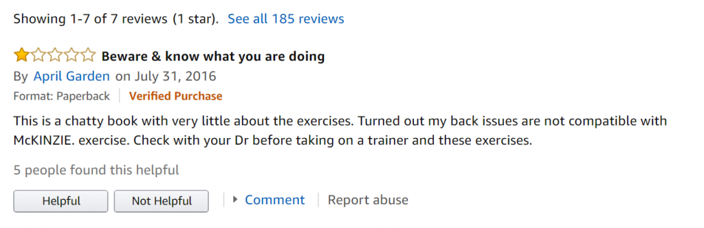 Screenshot of a one star review on Amazon for ideal reader research